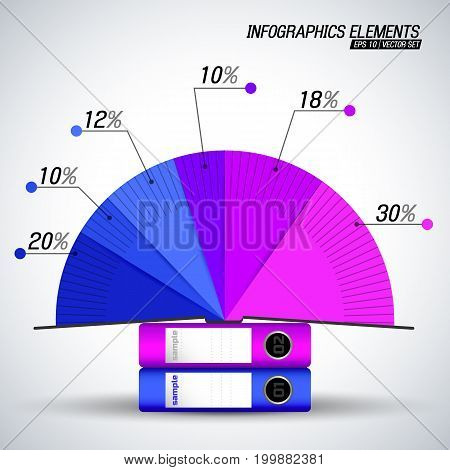 Business infographics elements with diagram and cardboard folders in blue and purple colors flat vector illustration