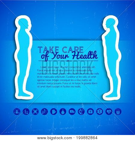 Blue color concept background with medical icons text field and two side view human silhouettes flat vector illustration