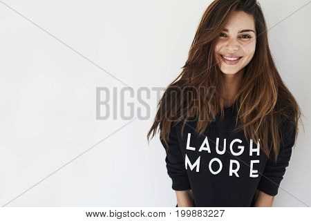 Sweet Young Beautiful woman laughing more portrait