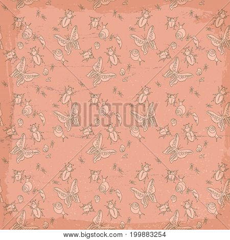 Vintage insects seamless pattern with slain, butterfly, ant, bettle on red background vector illustration