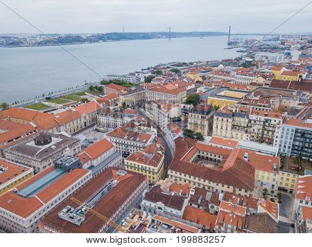 Lisbon from a bird's eye view Portugal. Shooting the city with drones