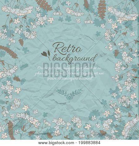 Retro flowery decorative background in blue colors with text meadow flowers on wrinkled paper vector illustration