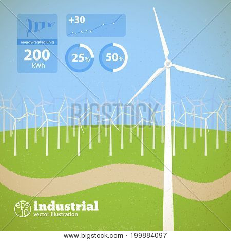 Clean alternative energy concept with wind turbines in field and diagrams vector illustration