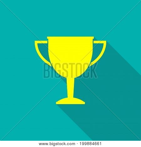 Trophy cup icon. Award and win symbol in flat style with long shadow. Vector illustration.