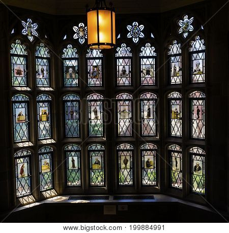NEW HAVEN, CONNECTICUT-JUNE 24, 2017 Lawyers Judges Stained Glass Window Goldman Law Library Yale University New Haven Connecticut. Completed in 1931 and very large law library.