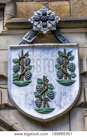 NEW HAVEN, CONNECTICUT-JUNE 24, 2017 Three Pine Cones Coat of Arms Residential College Old Campus Yale University New Haven Connecticut