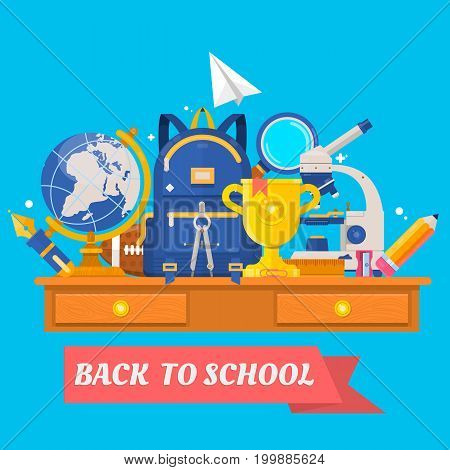 Back to school. Education in the school concept background. Knapsack, ball, globe, microscope, loupe, sharpener. Flat vector illustration. School supplie and items