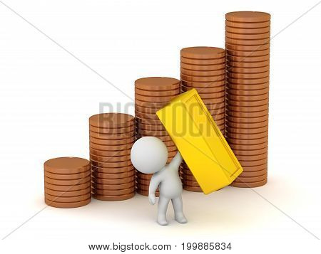 3D character with large stacks of coins and gold bars. Isolated on white background.