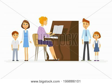 Music lesson at school - modern cartoon people characters illustration with a teacher playing the piano from music and singing children. Perfect as a card, poster, banner
