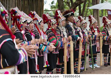 Thailand Akha Hill Tribe Singing Traditional Song Show For Tourist