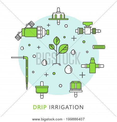 Isolated vector icons for drip irrigation. Drip tape, drip tube, various droppers, filter, plant, drops.