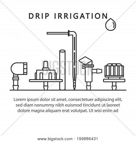 Vector linear dropper icons for drip irrigation.