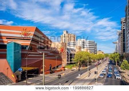 Adelaide Australia - December 2 2016: Adelaide Convention Centre and North Terrace trafic viewed towards east from Montefiore road bridge on a bright day