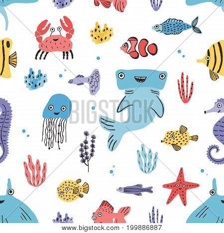 Sea life seamless pattern. Hand drawn algae, blowfish, puffer, crab, hammerhead shark, whale, starfish, shark seahorse manta ray Colorful vector illustration texture