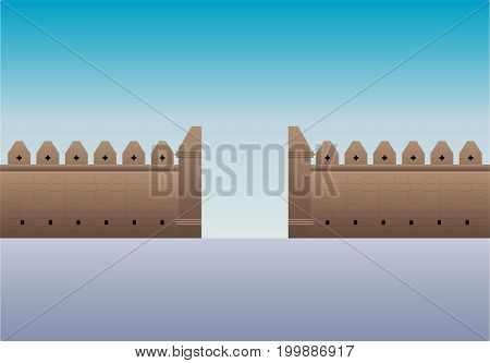 Old gate Tha Phae gate in Thailand Chiangmai vector illustration