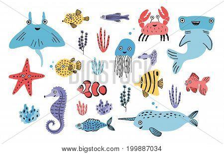 Sea life set. Hand drawn algae, blowfish, jellyfish, crab, hammerhead shark, whale, starfish, shark seahorse manta ray narwhal Colorful vector illustration collection