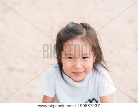 Adorable Asian Cute Girl Close Up Head Shot , Healthy Girl, Funny Action, Wear A White T Shirt