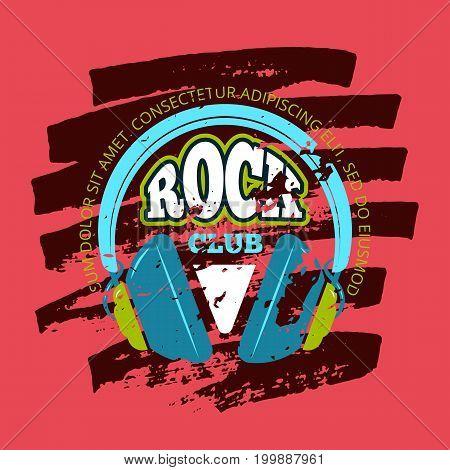 Shabby retro rock music club, music shop vector logo, badge, emblem with headphones on marker texture. Illustration banner