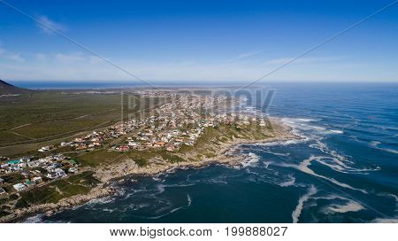 Aerial View Over Gansbaai In The Overberg In The Western Cape Of South Africa