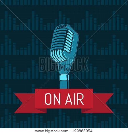 Vector microphone with ribbon on air illustration with sound waves background. Retro microphone