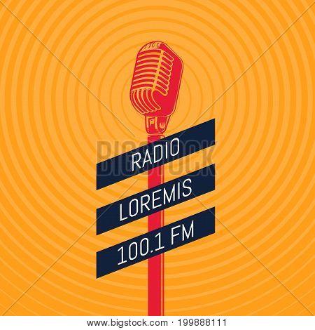Vector vintage microphone radio illustration on radio signal circles background. Music audio media background