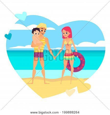 Young loving couple with baby on beach. Family love vacation and travel, vector illustration