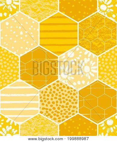 Seamless geometric pattern with honeycomb. Trendy hand drawn textures. Modern abstract honey design for paper, fabric, interior decor and other users.