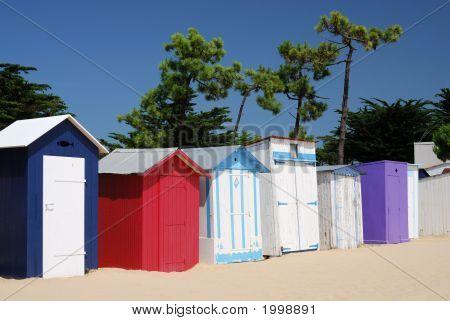 Coloured Beach Huts Under The Sunlight Iii