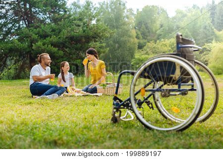 Great picnic. Pleasant young family sitting on the grass in the meadow and drinking orange juice in the background while the wheelchair standing in the foreground