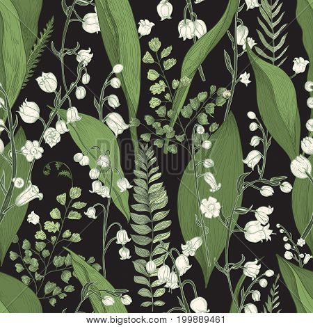 Lily of the valley with fern seamless pattern. Hand drawn texture with flowers, buds, leaves and stems. Colorful vector illustration