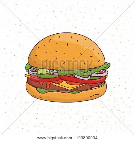 Burger with cheese, cucumber, cutlet, lettuce, onion, sauce, tomato, beef and salad. Colorful hand drawn vector illustration on white background
