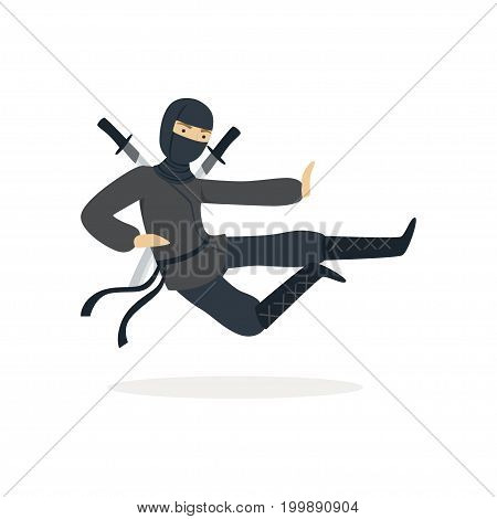 Ninja assassin character in a full black costume jumping with katana swords behind his back, Japanese martial art vector Illustration on a white background