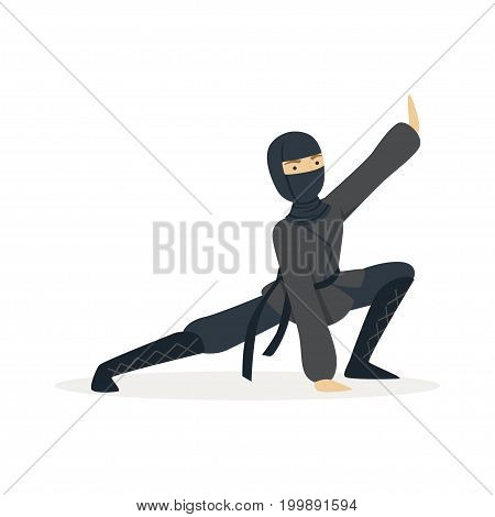 Ninja assassin character in a full black costume standing in a combat pose, Japanese martial art vector Illustration on a white background