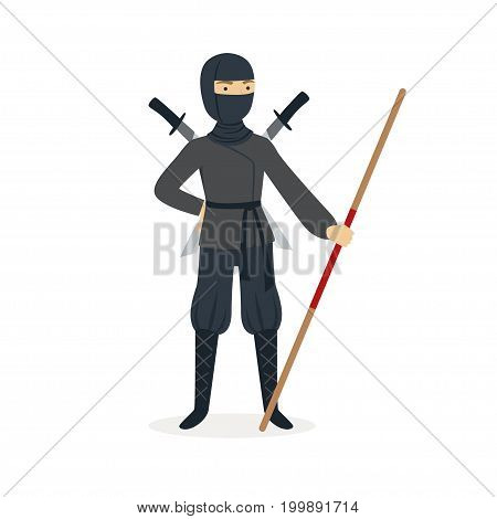 Ninja assassin character in a full black costume standing with katana swords behind his back and bamboo training sword in his hand, Japanese martial art vector Illustration on a white background