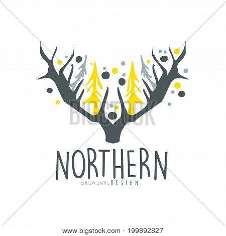 Nothern logo template original design, badge for nothern travel, sport, holiday, adventure colorful hand drawn vector Illustration with symbols of the north land on a white background