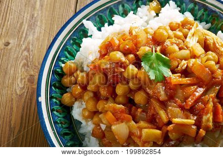 Afghan Dish With Chicken, Chickpeas .