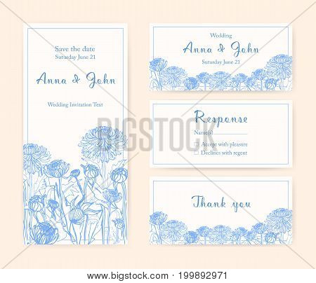 Wedding invitation cards with chrysanthemum. Different vertical and horizontal compositions. Monochrome vector illustration