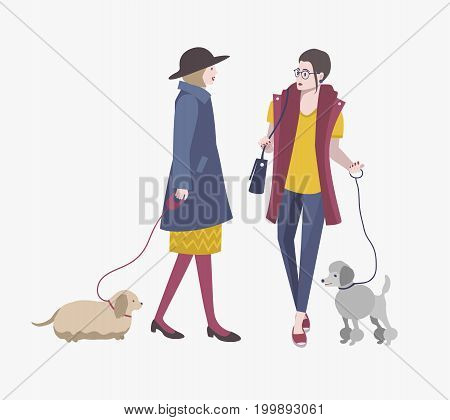 Young girls walking with dogs, Colorful flat vector illustration