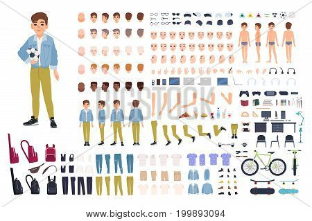 Little boy character constructor. Male child creation set. Different postures, hairstyle, face, legs, hands, clothes, accessories collection. Vector cartoon illustration Front side back view