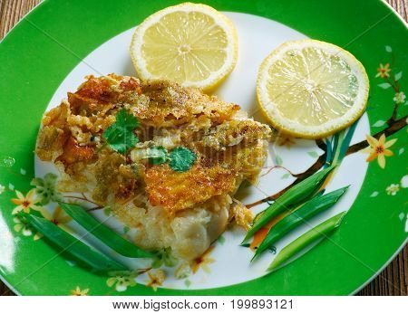 Sole meuniere - classic French fish dish consisting of sole poster