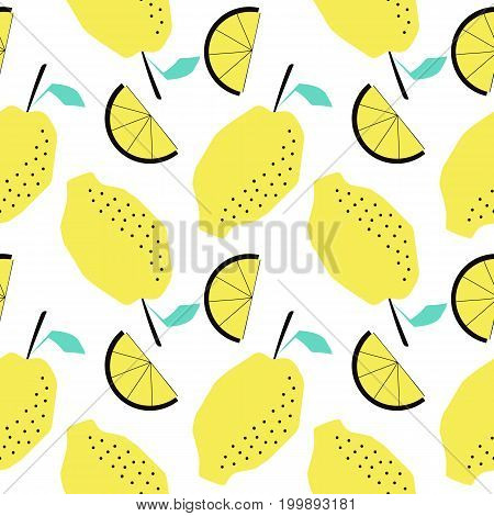Funny summer tropical pattern with lemons. Creative illustration in trendy style