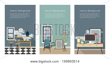 Modern interior banners set. Kitchen, living room, workplace in loft style. Colorful flat vector vertical templates with place for text.