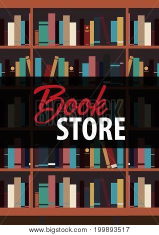 Poster Book Store. Book Shelf Or Bookcase On The Background.