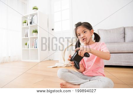 Pretty Girl Children Daughter Playing Video Games