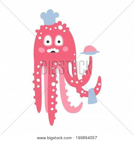 Cute cartoon pink octopus chef character, funny ocean coral reef animal vector Illustration on a white background