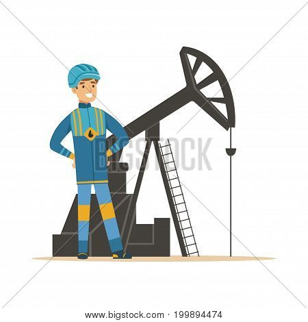 Smiling oilman standing next to an oil rig drilling platform, oil industry extraction and refinery production vector Illustration on a white background