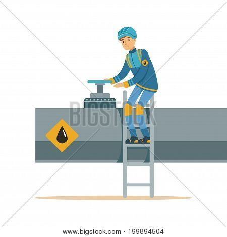 Oilman working on an oil pipeline, transportation of oil and petrol vector illustration on a white background