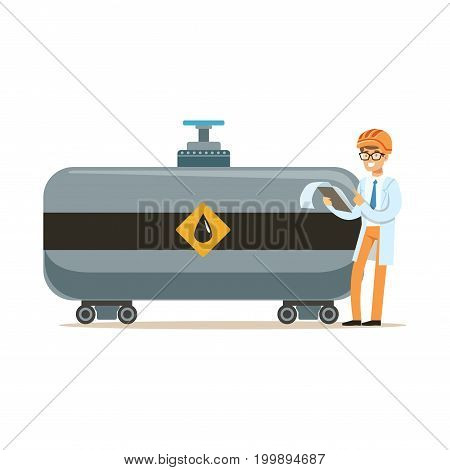 Engineer of oil industry controlling the process of oil transportation vector illustration on a white background