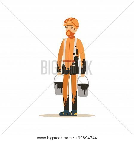 Oilman in orange stained uniform standing with buckets full of oil, oil industry extraction and refinery production vector Illustration on a white background