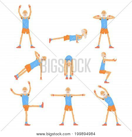 Elderly man character exercising set, healthy active lifestyle retiree, elder fitness vector Illustrations on a white background